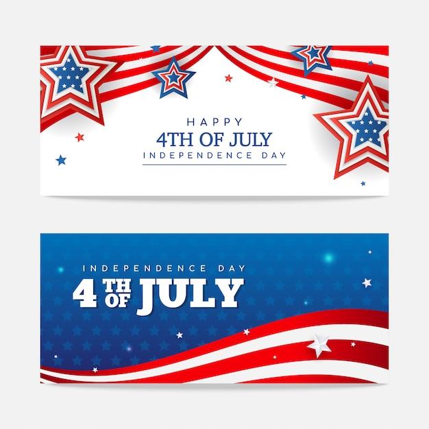 С днем 4 июля баннер. векторный дизайн Premium векторы