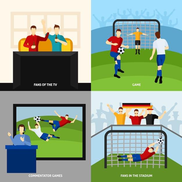 サッカー4フラットアイコンの正方形構成 無料ベクター
