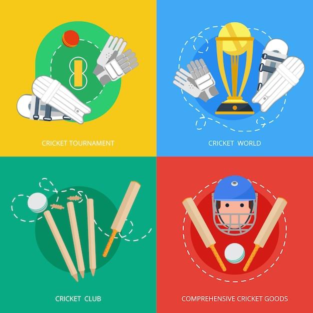 Крикет 4 плоских иконы композиции Premium векторы