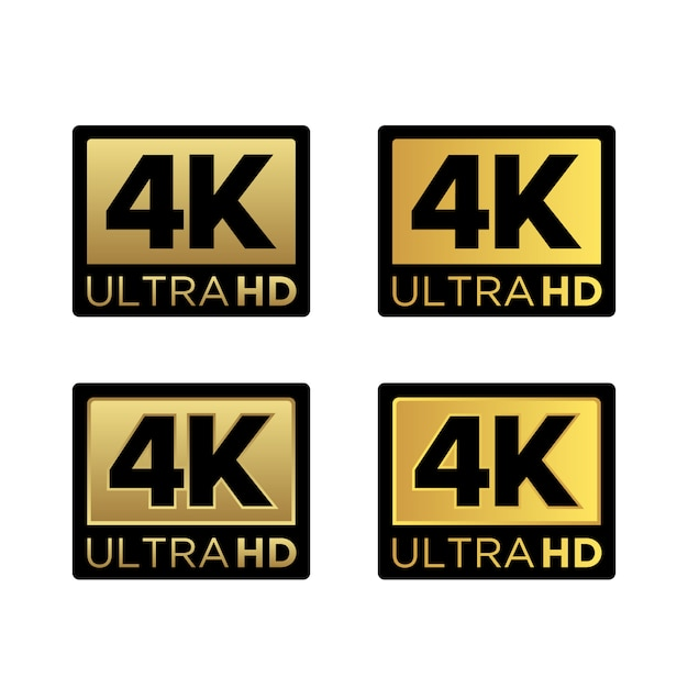 ゴールデン4kウルトラhdビデオ解像度アイコンロゴ Premiumベクター