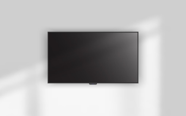 4к телевизор висит на стене. Premium векторы