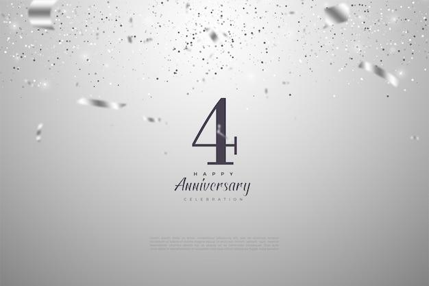 4-я годовщина с числами и иллюстрациями падающих друг на друга серебряных лент. Premium векторы