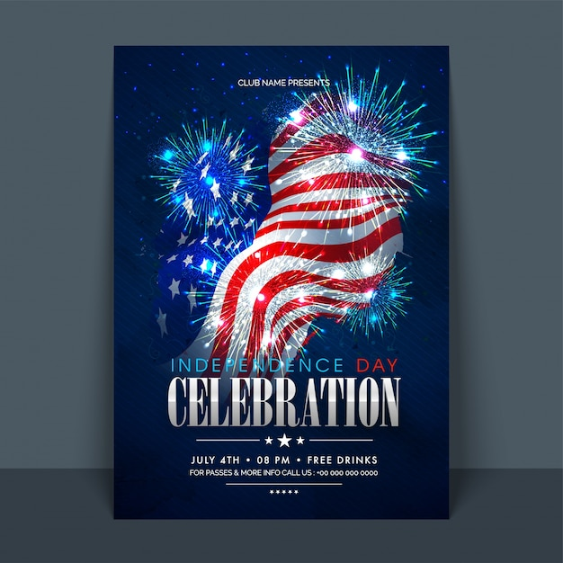 4th of july, american independence day celebration flyer, banner ...