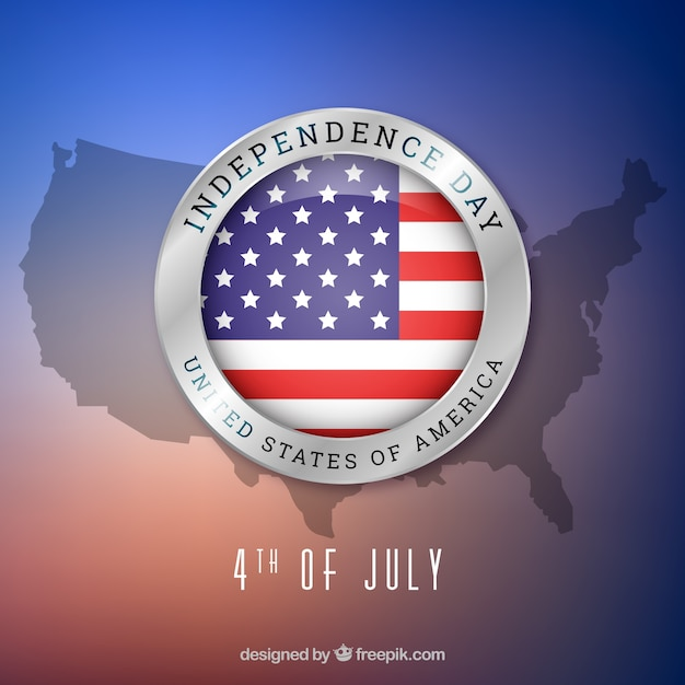 4th of july background with map Free Vector