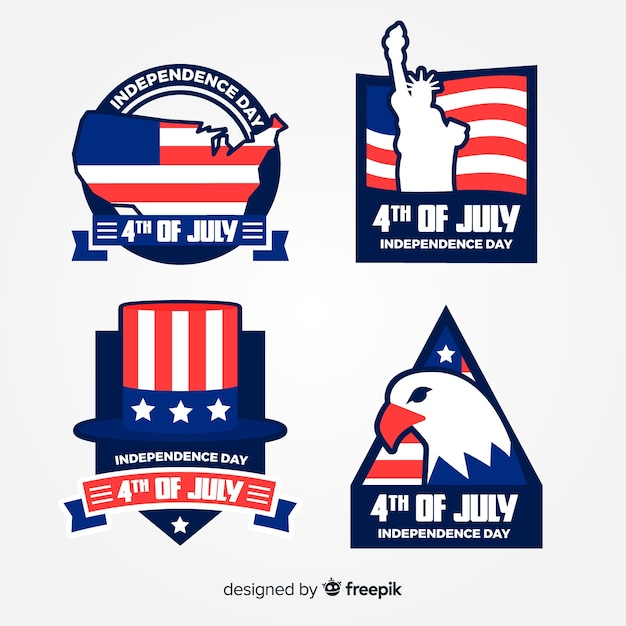 4th of july badge collection Free Vector