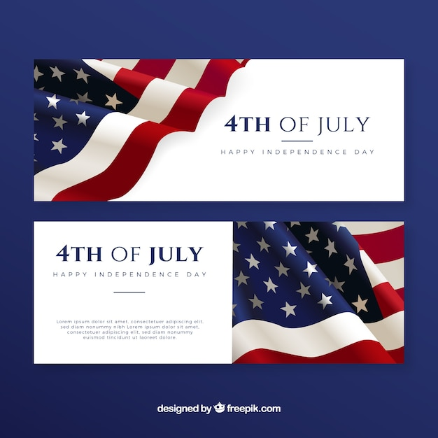 4th of july banners with american flag Vector | Free Download