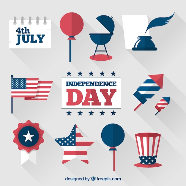 4th of july elements Free Vector
