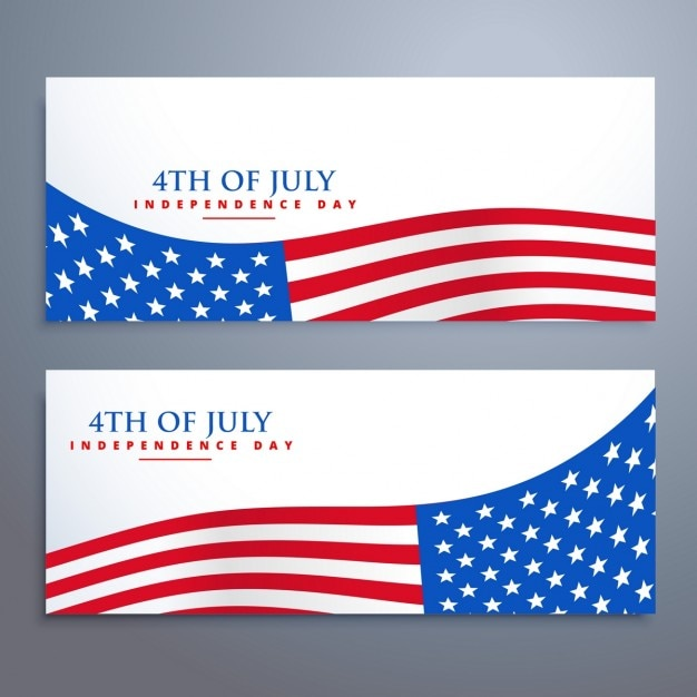 4th Of July Flag Banners Vector Free Download