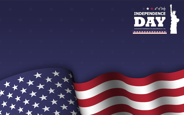 4th of july happy independence day of america background . statue of liberty flat silhouette design with text and waving american flag Premium Vector