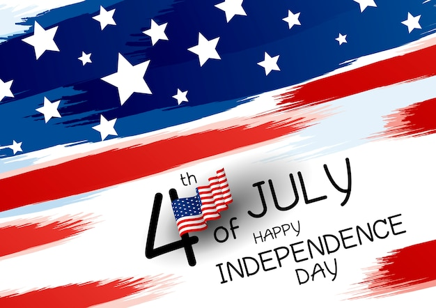 4th of july happy independence day design Premium Vector