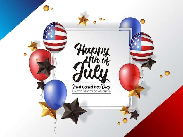 4th of july independence day america with realistic balloon Premium Vector