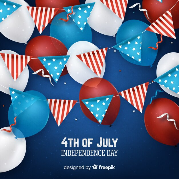 4th of july - independence day background with balloons Free Vector