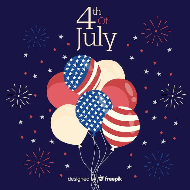 4th of july - independence day balloon background Free Vector