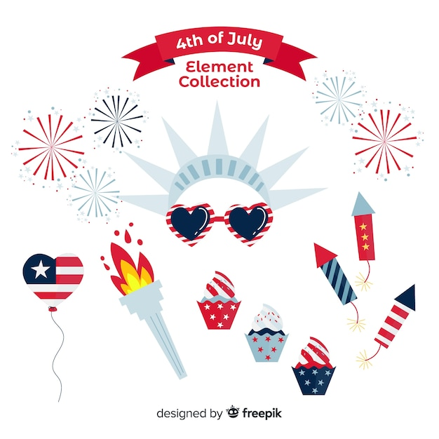 4th of july - independence day element collection Free Vector