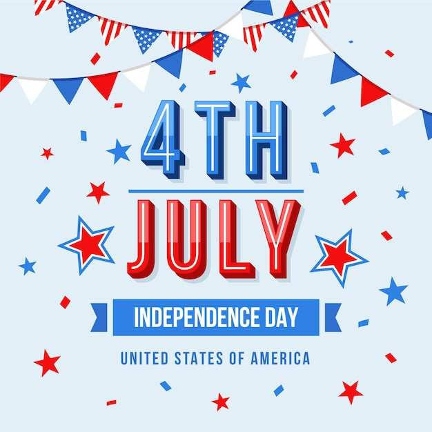 4th of july - independence day in flat design Premium Vector