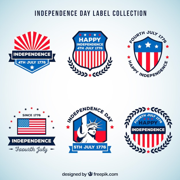 4th of july independence day labels collection Vector | Free