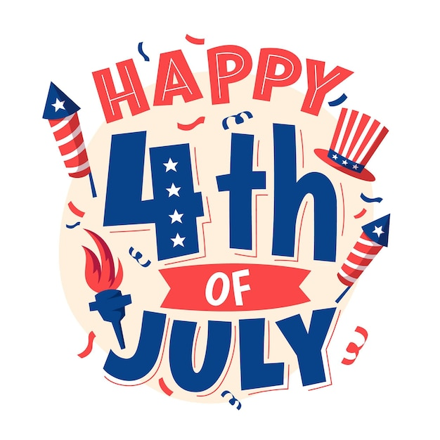 4th of july - independence day lettering Free Vector