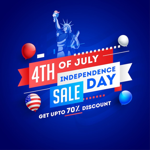 4th of july, independence day sale poster or template design wit Premium Vector