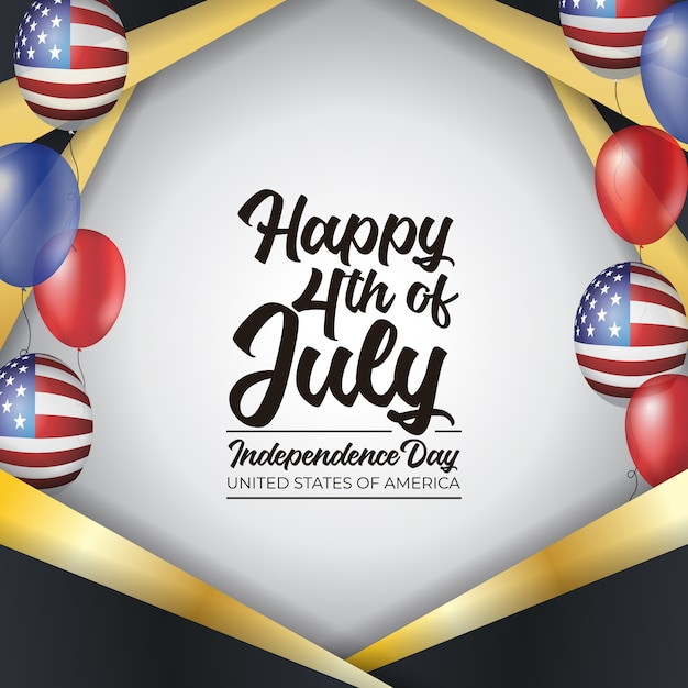 4th of july independence day united states of america Premium Vector