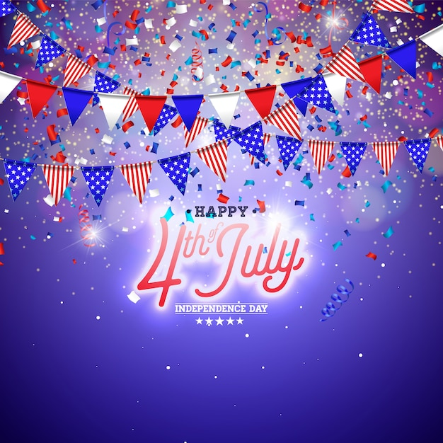 4th of july independence day of the usa illustration Premium Vector