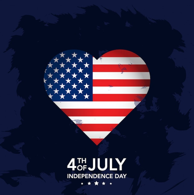 4th july independence day with heart Premium Vector