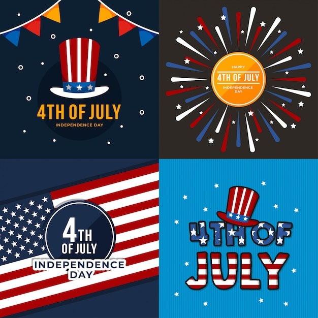 4th of july the independent day Premium Vector