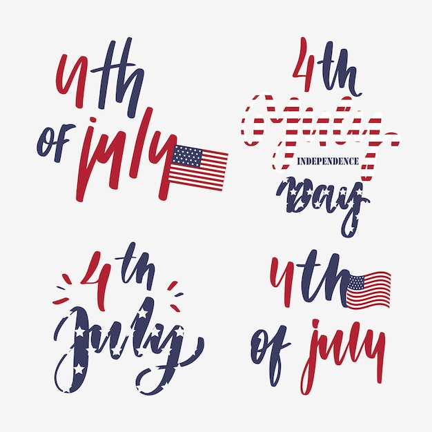 4th of july - set of  lettering card. Premium Vector
