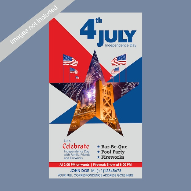 4th of july us independence day invitation template with bbq, pool party and fireworks attraction. Premium Vector
