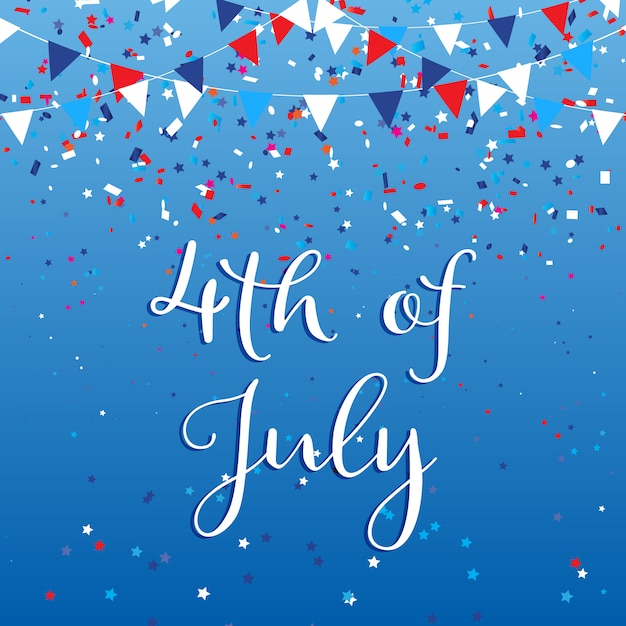 4th july usa with flags and confetti Free Vector