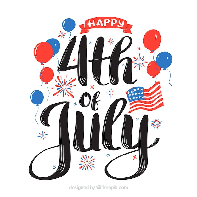 4th of july background with lettering Free Vector