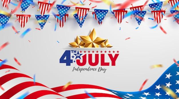 7月4日のバナーテンプレート。アメリカの国旗とアメリカ独立記念日のお祝い。 Premiumベクター