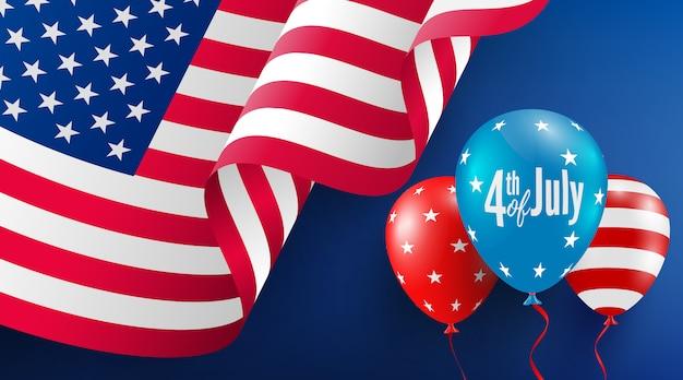 7月4日のポスターテンプレート。アメリカの風船の旗とアメリカ独立記念日のお祝い。 Premiumベクター