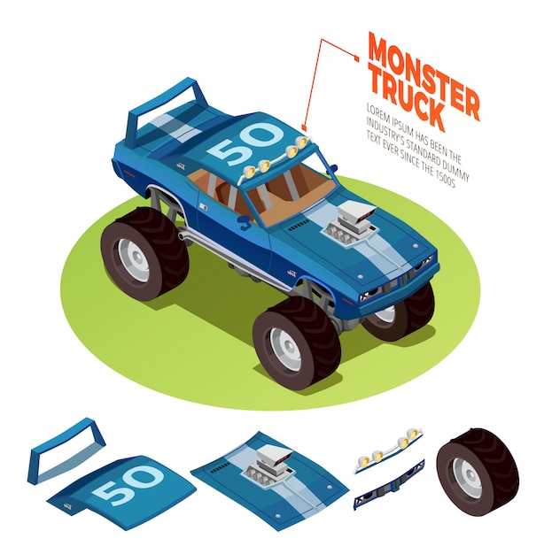 モンスター車4wdモデル等尺性画像 無料ベクター