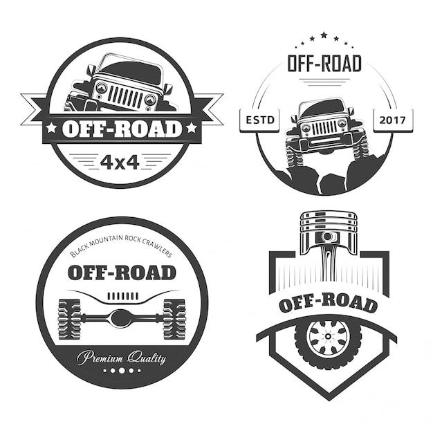 Шаблоны логотипов или значки внедорожных 4x4 для экстремальных автомобильных клубов Premium векторы