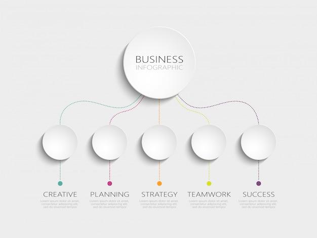 成功のための5つのステップを持つモダンな3dインフォグラフィックテンプレート Premiumベクター