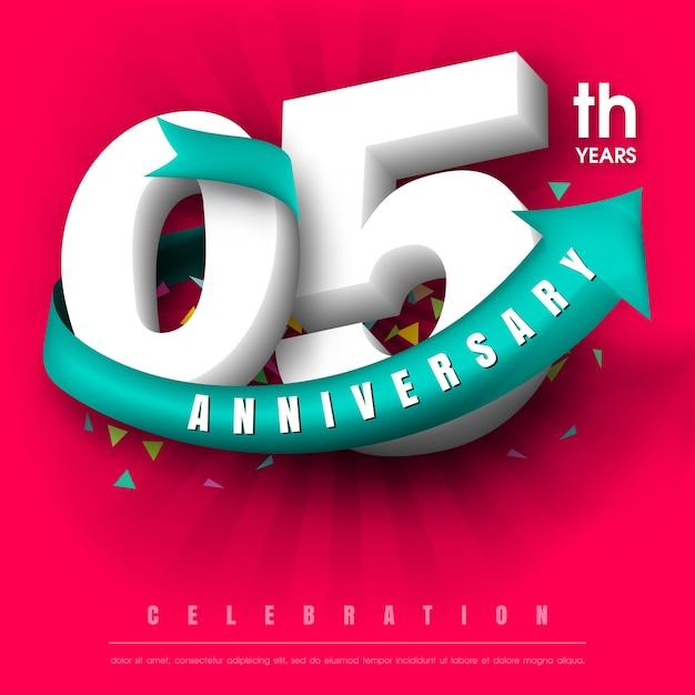 5 anniversary emblem Premium Vector