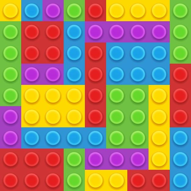 5色ブロックプラスチックコンストラクターベクトルイラスト 無料ベクター