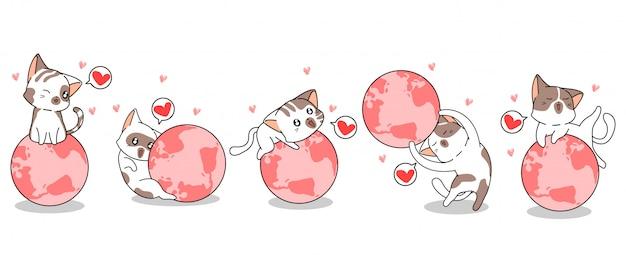 5種類の猫のキャラクターが世界を愛しています Premiumベクター