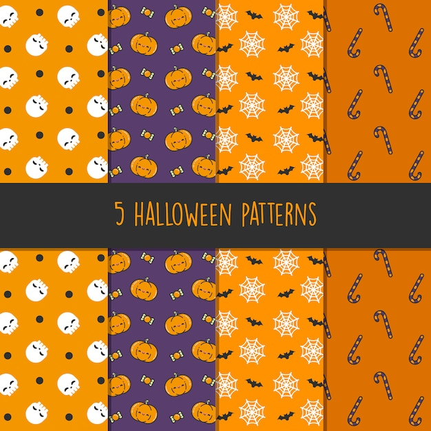 5 different halloween vector patterns. endless texture can be used for wallpaper, pattern fills, web page, background, surface - vector Premium Vector