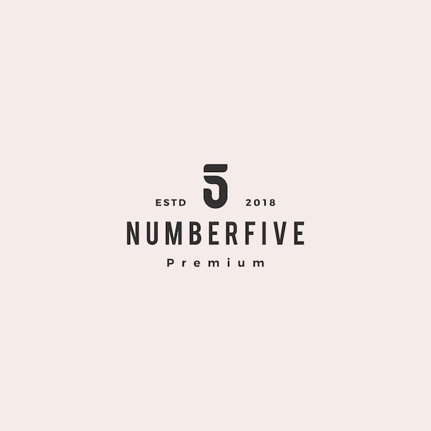 5 five number logo vector icon sign Premium Vector