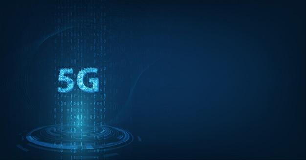 グローバルネットワーク高速イノベーション接続データレート、暗い青色の背景に創造的な輝く5 g Premiumベクター