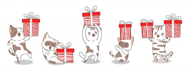 5 разных персонажей кота и подарочной коробки для баннера happy day Premium векторы