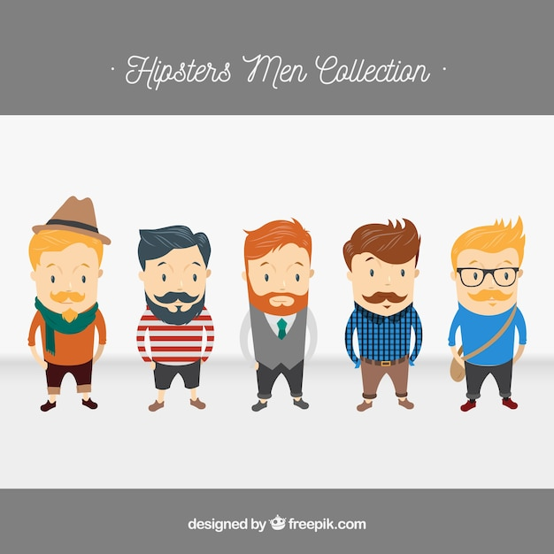 5 Hipster characters, vector pack Free Vector
