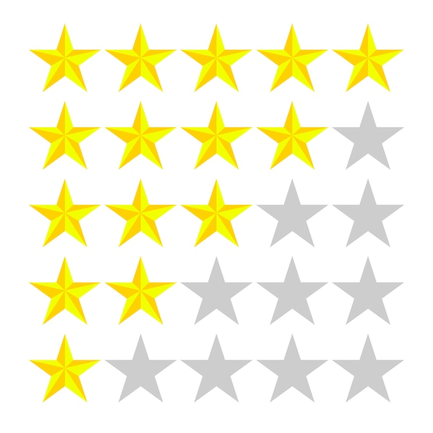 5 rows with stars of different numbers of yellow on white. Premium Vector