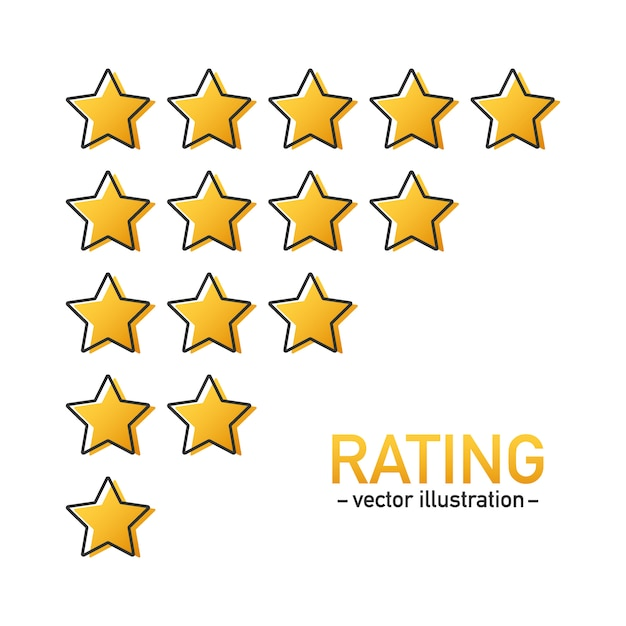 5 star rating icon vector. isolated badge for website or app. stars customer product rating review. Premium Vector