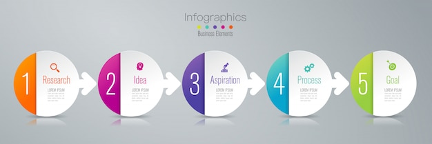 5 steps business infographic elements for the presentation Premium Vector