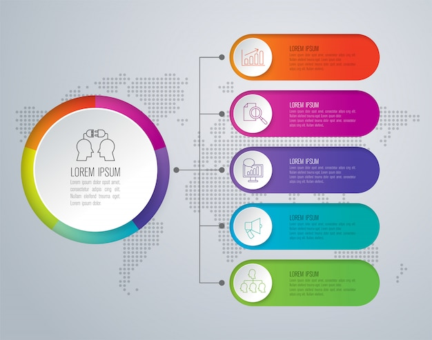 5 steps business infographic elements for the presentation Vector