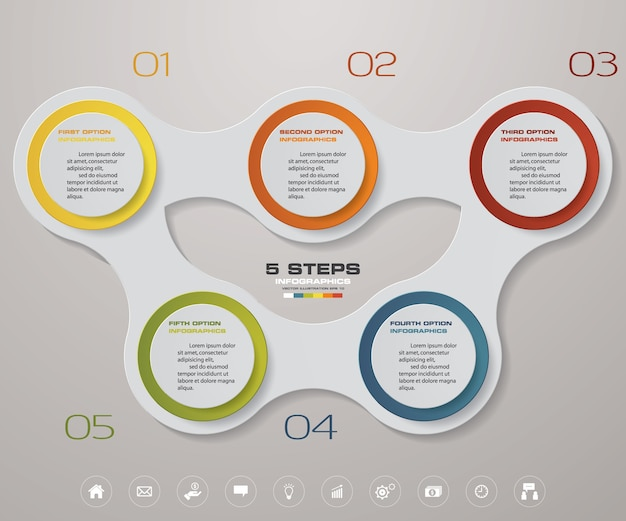 5 steps chart infographics element. Premium Vector