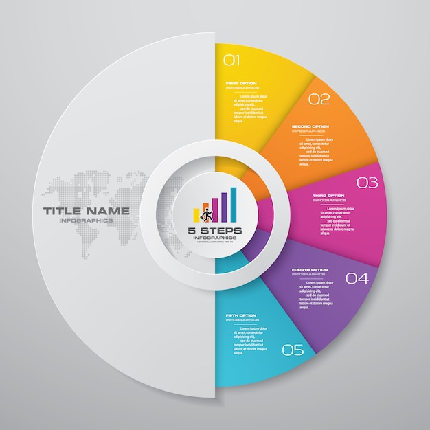 5 steps cycle chart infographics elements. Premium Vector