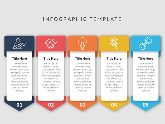 5 steps infographic template design Premium Vector